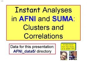 1 Instant Analyses in AFNI and SUMA SUMA