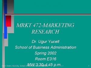 MRKT 472 MARKETING RESEARCH Dr Ugur Yucelt School