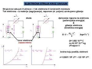 ELEKTRINA STRUJA KROZ VAKUUM Struja kroz vakuum ili