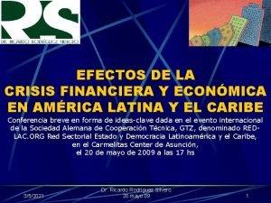 EFECTOS DE LA CRISIS FINANCIERA Y ECONMICA EN