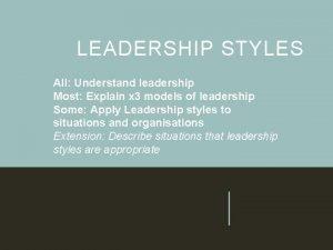 LEADERSHIP STYLES All Understand leadership Most Explain x