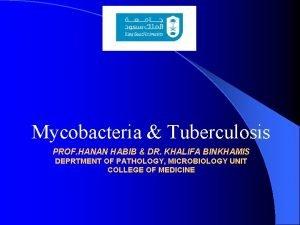 Mycobacteria Tuberculosis PROF HANAN HABIB DR KHALIFA BINKHAMIS