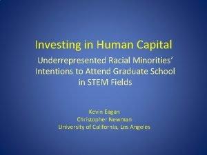 Investing in Human Capital Underrepresented Racial Minorities Intentions