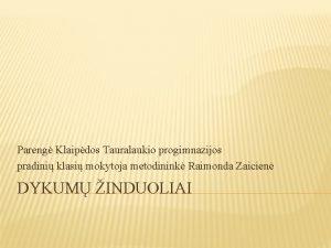 Pareng Klaipdos Tauralaukio progimnazijos pradini klasi mokytoja metodinink