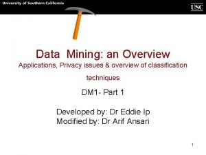 Data Mining an Overview Applications Privacy issues overview