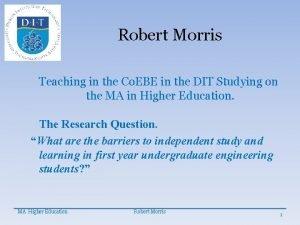 Robert Morris Teaching in the Co EBE in