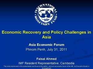 Economic Recovery and Policy Challenges in Asia Economic