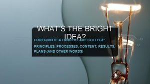 WHATS THE BRIGHT IDEA COREQUISITE AT NORTH LAKE