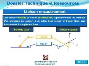 Dossier Technique Ressources Liaison encastrement Une liaison complte