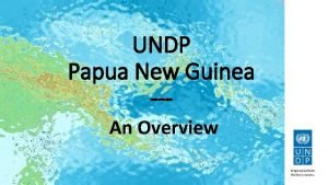 UNDP Papua New Guinea An Overview UNDPs portfolio