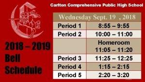 Carlton Comprehensive Public High School Wednesday Sept 19