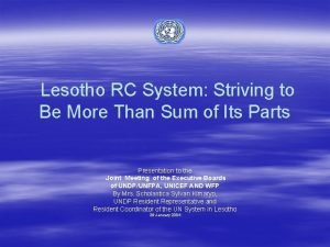Lesotho RC System Striving to Be More Than