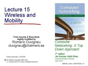 Lecture 15 Wireless and Mobility From Kurose Ross