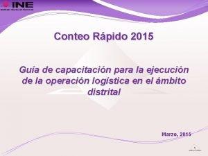 Conteo Rpido 2015 Gua de capacitacin para la