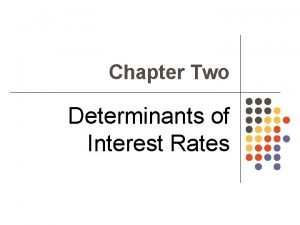 Chapter Two Determinants of Interest Rates Interest Rate