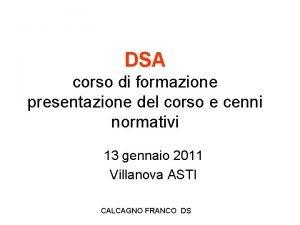 DSA corso di formazione presentazione del corso e