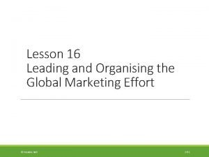 Lesson 16 Leading and Organising the Global Marketing