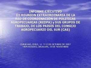 INFORME EJECUTIVO III REUNION EXTRAORDINARIA DE LA RED