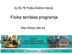 Az ELTE Fizika Doktori Iskola Fizika tantsa programja