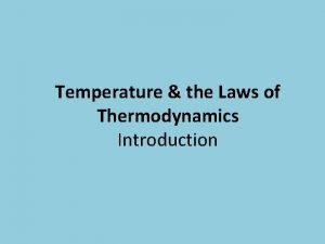 Temperature the Laws of Thermodynamics Introduction Zeroth Law