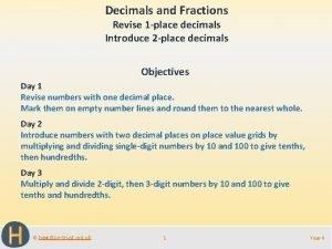 Decimals and Fractions Revise 1 place decimals Introduce