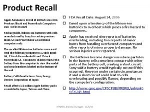 Product Recall Apple Announces Recall of Batteries Used