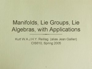 Manifolds Lie Groups Lie Algebras with Applications Kurt