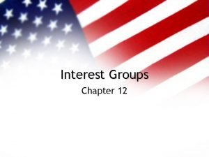 Interest Groups Chapter 12 Interest Groups The American