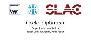 Ocelot Optimizer Sergey Tomin Hugo Slepicka Joseph Duris