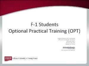 F1 Students Optional Practical Training OPT Indiana University