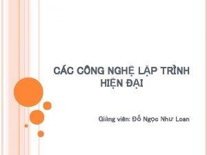 CC CNG NGH LP TRNH HIN I Ging