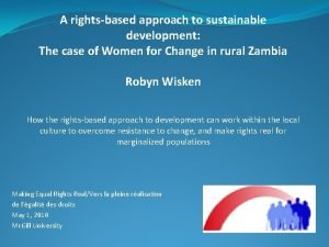 A rightsbased approach to sustainable development The case