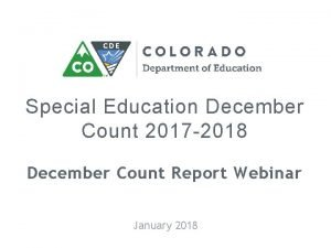 Special Education December Count 2017 2018 December Count