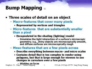 Bump Mapping 1 Three scales of detail on