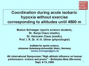 Coordination during acute isobaric hypoxia without exercise corresponding