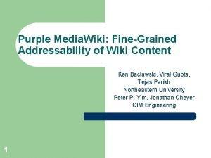 Purple Media Wiki FineGrained Addressability of Wiki Content