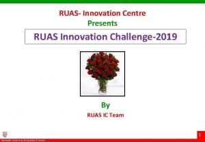 RUAS Innovation Centre Presents RUAS Innovation Challenge2019 By