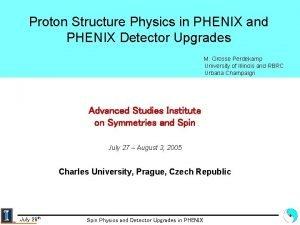 Proton Structure Physics in PHENIX and PHENIX Detector