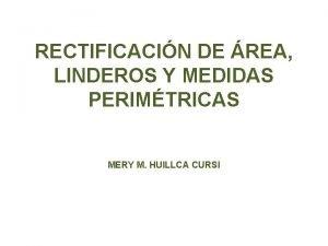 RECTIFICACIN DE REA LINDEROS Y MEDIDAS PERIMTRICAS MERY