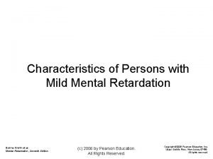 Characteristics of Persons with Mild Mental Retardation BeirneSmith