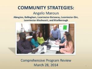 COMMUNITY STRATEGIES Angelo Maroun Abington Bellingham LeominsterBetanray LeominsterElm