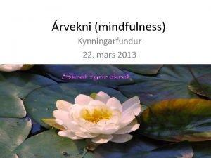 rvekni mindfulness Kynningarfundur 22 mars 2013 rvekni mindfulness