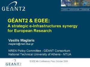 Connect Communicate Collaborate GANT 2 EGEE A strategic