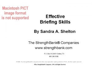 Effective Briefing Skills By Sandra A Shelton The