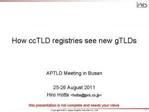 How cc TLD registries see new g TLDs