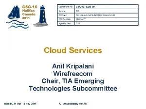 Document No GSC 16 PLEN79 Source TIA Contact