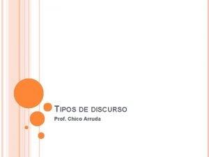TIPOS DE DISCURSO Prof Chico Arruda DISCURSO DIRETO