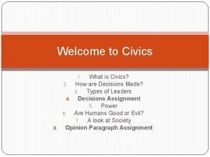 Welcome to Civics What is Civics 2 How