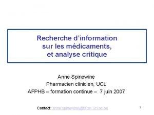 Recherche dinformation sur les mdicaments et analyse critique