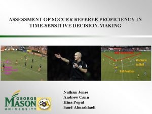ASSESSMENT OF SOCCER REFEREE PROFICIENCY IN TIMESENSITIVE DECISIONMAKING